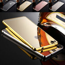 Aluminum Metal Mirror Back Case Bumper For iPhone Samsung Nokia HTC LG Huawei