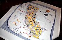 """NEW Retro Style Cotton 40's/50's Tablecloth -BLUE CALIFORNIA- 52"""" Square"""