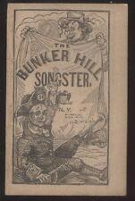 1850's BUNKER HILL SONGSTER BOOK 34 Pages New Condition SOME NEGRO SONGS