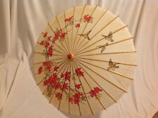Vintage Asian Chinese Parasol Paper Bamboo Umbrella Leaves Decor Orient 33""