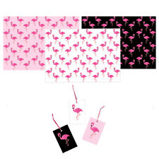 3 x Sheets of Flamingo Gift Wrap & 3 x Matching Gift Tags. Pink/White/Black