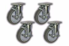 "Set of 4 Swivel Plate Caster w/ 5"" Non-Marking Wheel & Top-Lock Brake 1300 lbs"