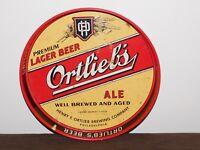 "VINTAGE BAR 11 3/4"" ACROSS ORTLIEB'S LAGER BEER ALE METAL SERVING TRAY"