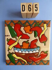 "Ceramic Art Tile 6""x6"" Bowl of chile's colorful kitchen trivet  hand painted D65"