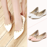 Rock Studs Flats Yellow Pointy Rivets Balletic Walking Hot Women Shoes Plus Size