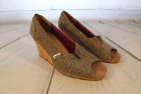 Toms womens wedge peep toe shoes heels brown/grey size 6 M cork heel