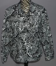 Alfred Dunner Jacket Ladies 12 Black White Zebra Animal Print Buttons Stretch