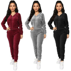 Womens Casual 2 PC Zippered Long Sleeve Velvet Hoodie Sweater Sweatpants S-2XL
