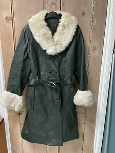 Vintage 60s 70s Penny Lane Green Leather Boho Hippie Fur Collar Coat