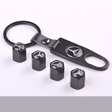 Valve Stem Air Cover Caps Black New Car Wheel Tire keychain For Mercedes Benz