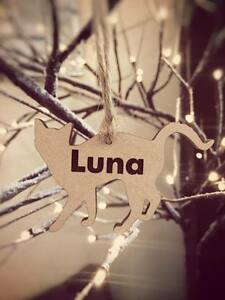 PERSONALISED WOODEN CAT SHAPE NAME GIFT TAGS XMAS HANGING DECORATION