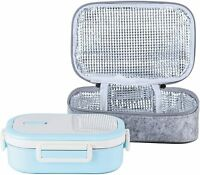 Stainless Steel Leakproof Bento Lunch Box/Metal Food Container with Lunch (Blue)