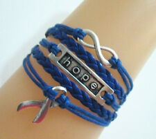 Infinity/Hope/Cancer Awareness Ribbon Charm Colon Cancer Leather Bracelet- Blue