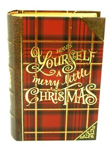 Punch Studio Gold Foil Nesting Book Box Red Christmas Plaid Small 61678