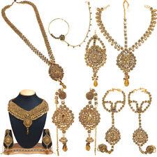Indische Hochzeit Kundan Perlen Braut Long Choker Halskette Ohrringe Set