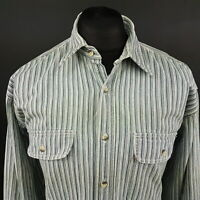 Levi's Mens Vintage THICK HEAVY SHIRT LARGE Long Sleeve Blue Regular Fit Striped