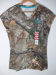 REALTREE Womens V-neck Tee Shirt S SMALL Hunting Green Camouflage Camo Cotton