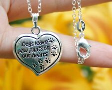 Dog Memorial Necklace Dogs leave paw prints Heart Love Gift Sterling Silver Chn