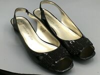 Anne Klein Iflex Jakobe 8 M Black Shoes Open Toe Womens Faux Patent Leather