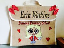 Girls/boys Personalised Jute School Book Bag Any Name And School Hand Painted