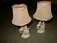 Porcelain Vintage Antique Courting Couple Set Of 2 Boudoir Japanese Table Lamps