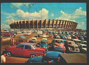 Brazil two postcards soccer Stadium Belo Horizonte and Maracana cars VW beetle
