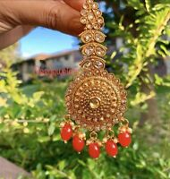 Ethnic Indian Bollywood Wedding Polki Earrings Jhumka Jhumki Bridal Jewelry Red