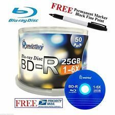 50 Smartbuy Logo BD-R 6X 25GB Blu-ray Blank Media Disc + Black Permanent Marker