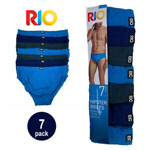 Rio 7 Pack Bulk Mens Cotton Plain Hipster Briefs Undies Underwear Blue Grey