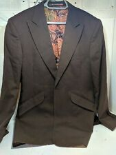 William Hunt Brown Jacket 42 vintage retro Saville Row 1970s floral wool blend