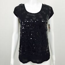 INC International Concepts Womens XS Black Sequin Top and Camisole 2 Piece