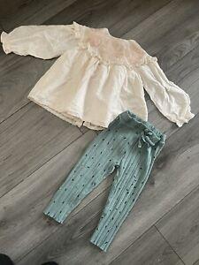 Zara Baby Girl Blouse And Leggins Size 18-24m