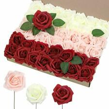 Artificial Flowers 42pcs, 3 inch Real Touch Roses, Artificial Foam Roses with St