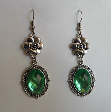 CAMELLIA FILIGREE VICTORIAN STYLE LIGHT GREEN SILVER PLATED EARRINGS CFE Hook