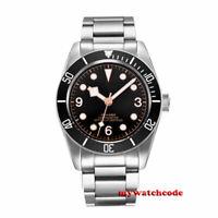41mm CORGEUT black dial stainless bracelet Sapphire Glass automatic mens Watch