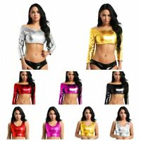 Sexy Women's Shiny Metallic Slim Tube Top Tank Crop Top T-Shirt Blouse Tee Tops