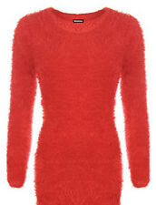 New Womens Chunky Knitted Fluffy Furry Round Crew Neck Jumper Dress Plus Size