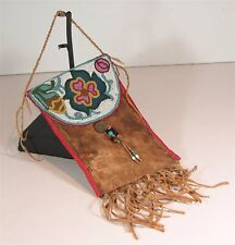 1890 Native American Plains Cree Indian Bead Decorated Buffalo Hide Dispatch Bag