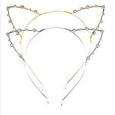 Women Gold Hair Cat Ear Hairband HeadBand Hair Hot Cuff Party Crystal Rhinestone