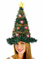 Light-Up Christmas Tree Hat Costume Blinking Ornaments Star Garland Xmas