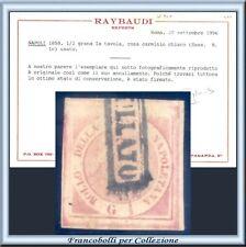 ASI 1858 Napoli ½ grano n. 1c Usato Certificato Raybaudi Antichi Stati  Italiani