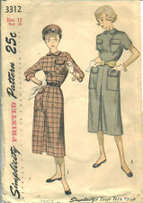 S 3312 sewing pattern 50's Teen DRESS sew vintage 1950 back button closing UNCUT
