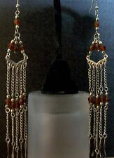 Earrings Unique Handmade Long Drop A Yellow Brown Amber Bronze Dangle Chandelier