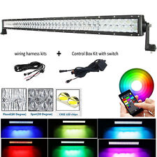 """5D CREE 50"""" LED Light Bar Combo Beam Offroad Driving RGB Strobe Flash Controlled"""