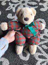 Great Condition Hallmark Stuffed Bear Red Green Check Checkered Collector