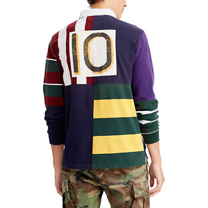 $248 Polo Ralph Lauren Vtg Retro Patchwork Rugby Preppy Royal Stadium Shirt King