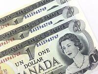 1973 Canada 1 Dollar 3 Consecutive Uncirculated BAS Crow Bouey Banknotes R359