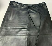 Black Leather Pencil Mini Skirt Butter Soft Leather Great Condition size 8