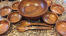 Vintage Wood Salad Bowl Set 8 Wooden Bowls Fork Spoon Hand Carved Tiki Village