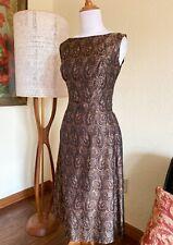 1950s Dress Silk Paisley Grenelle Estevez Vintage Designer Brocade Cocktail